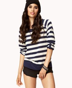 XXI striped french terry sweater