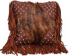 Brindle Cowhide Fringe Pillow by Double J Saddlery