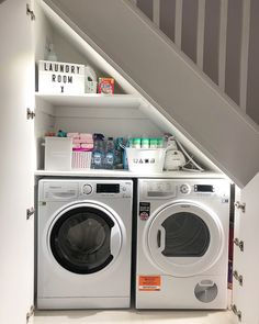 Whether you have a small laundry room or just a messy one, these stylish laundry room decor ideas will spruce it up. Whether you have a small laundry room or just a messy one, these stylish laundry room decor ideas will spruce it up. Small Laundry Rooms, Laundry Room Organization, Laundry Room Design, Organization Ideas, Basement Laundry, Storage Ideas, Laundry In Kitchen, Small Utility Room, Hidden Laundry
