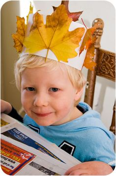 We Play Making an Autumn Crown is part of First Day Of Autumn crafts A few weeks back the Picklebums and I attended the opening of Eco Toys and Baby store We went along to do a craft activity for - Autumn Crafts, Fall Crafts For Kids, Thanksgiving Crafts, Art For Kids, Autumn Activities, Toddler Activities, Activities For Kids, Creative Activities, Fall Preschool
