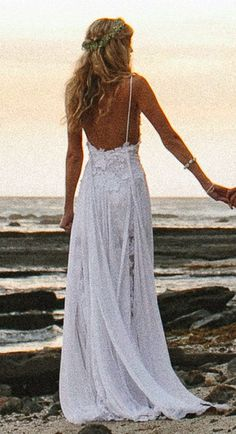 Stunning low back white lace wedding dress by Grace Loves Lace, perfect for a beach wedding. White Lace Wedding Dress, Bridal Lace, Bridal Gowns, Wedding Gowns, Lace Dress, Lace Maxi, Boho Wedding Dress Backless, Boho Beach Wedding Dress, Wedding Dress Beach