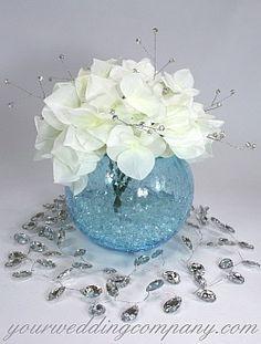 Sparkling blue & white hydrangea wedding centerpiece.
