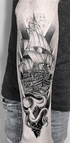 Antique Ship Tattoos To Convey Your Feelings Of Nostalgia. Detailed and vintage linework nautical sailor ship tattoos for both men and women with a free soul. Sea Tattoo Sleeve, Ship Tattoo Sleeves, Nautical Tattoo Sleeve, Arm Sleeve Tattoos, Sleeve Tattoos For Women, Nautical Tattoos, Cool Arm Tattoos, Arm Tattoos For Guys, Body Art Tattoos