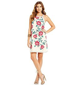 Chelsea and Violet Floral Embroidered Dress #Dillards