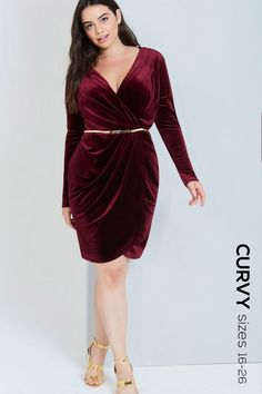 Girls On Film Curvy Burgundy Velvet Wrap Dress With Belt - Girls On Film Curvy from Little Mistress UK