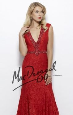 Mac Duggal Black White Red 61930R