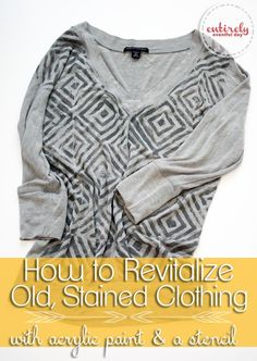 How to paint old stained clothes and make them adorable! entirelyeventfulday.com #refashion #fashion