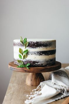 A sophisticated take on chocolate cake: layered with basil-infused mascarpone buttercream.