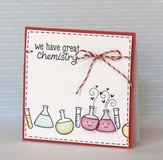 Lawn Fawn - Science of Love stamps and dies, Peppermint Lawn Trimmings Twine _ cute Chemistry card by Yainea for Lawn Fawn Design Team