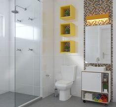 Nicho para Banheiro: 27 Ideias de Como Fazer Modern Bathroom Tile, Small Bathroom, False Wall, Lavatory Design, Recessed Ceiling, Home Organisation, Plumbing Fixtures, Leroy Merlin, Living Room Designs