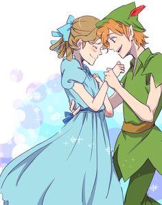 Wendy et Peter Pan Disney Pixar, Heros Disney, Arte Disney, Disney Fan Art, Disney And Dreamworks, Disney Animation, Peter Pan Anime, Peter Pan Art, Peter Pan And Tinkerbell