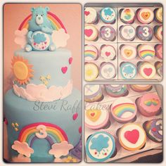 Care Bears cake and cupcakes by Stevi Raff Cake Design
