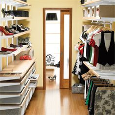 Birch & White elfa décor Organized Walk-In Closet...I need this for shoes & bags!!!!