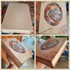 Decoupage, wooden book, wooden box, vintage