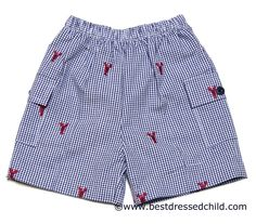 Glorimont Boys Blue Check / Embroidery Red Lobster Shorts