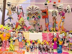 Calaveras de Dia de Muertos / Day of the Dead Skulls. Beautiful ' Calacas ' done with the alebrije technique, mud, etc.
