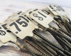 Antique Vintage Metal Cash Register Flag Black White Numbers Industrial Farmhouse Decor 20 Cent Flag Tag