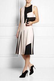 Bottega VenetaTwo-tone pleated wool-crepe dress