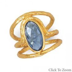 Beautiful 14 Karat Gold Plated Ring with Blue Hydro Quartz