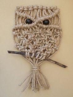 Items similar to Hemp Macrame Wall Owl on tree branch perch, original design on Etsy Macrame Owl, Macrame Knots, Modern Macrame, Owl Crochet Patterns, Macrame Wall Hanging Diy, Owl Fabric, Macrame Design, Macrame Projects, Bijoux Diy