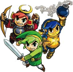 #Link and their weapons fom the official artwork set for the Tri Force Heroes #TFH #TLoZ #Zelda http://www.zelda-temple.net/