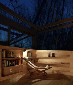 """archatlas: """" Small Studio in the Woods Bosco Retreat by Traverso-Vighy Architetti is a reading area surrounded by nature, illuminated by the winter daylight, shaded from the summer forest, and perfect for observation of the starry night sky. Images..."""