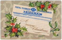 A telegram & holly postcard from 1909 from Edgar and Edgar.... Free Digital Downloads by Cathe Holden.JSIMTelebramPostcardChristmas470
