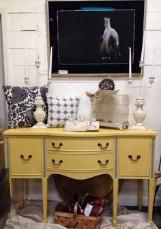 Painted by Ivy Lane in Massachusetts painted this sideboard in Amber Waves of Grain and Smoke Signal.