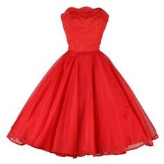 Vintage 1950's Emma Domb Red Chiffon Rhinestone Dress | From a collection of rare vintage evening dresses at http://www.1stdibs.com/fashion/clothing/evening-dresses/