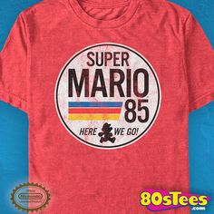 Super Mario 85 T-Shirt made by Fifth Sun in collections: Video Games: Super Mario Bros, & Department: Adult Mens, & Color: Red