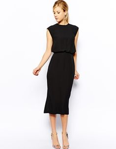 I love this dress. I think I could wear it to work with a camel blazer and leopard heels.  Image 1 of Oasis Column Midi Dress
