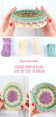 Raffia Bowl Weaving Step By Step Tutorial Creative Process Craft Kit Craftiosity - weaving patterns Paper Basket Weaving, Basket Weaving Patterns, Straw Weaving, Fabric Basket, Raffia Crafts, Basket Crafts, Diy Inspiration, Newspaper Crafts, Weaving Projects