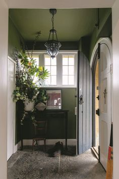 Look at this fabulously redone craftsman entry hall! Dark olive green walls (Far. Olive Green Bedrooms, Bedroom Green, Dark Green Walls, Olive Green Walls, Feature Wall Bedroom, Bedroom Wall, Decoration Entree, Hallway Inspiration, Living Room Green