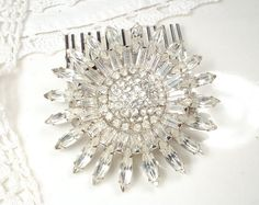 Bridal SASH Brooch OR HAiR CoMB, 1920s Vintage Large Round Pave Rhinestone Art Deco Pin or OOAK Marquise Crystal Wedding Headpiece Accessory by AmoreTreasure