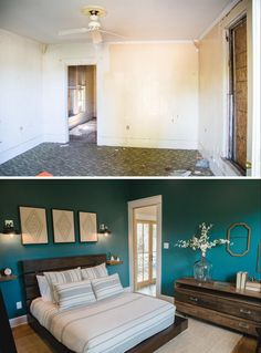 We situated the master bedroom, bath, and mudroom behind the kitchen. I had the walls painted this striking teal green to really define and differentiate this space from the rest of the home.