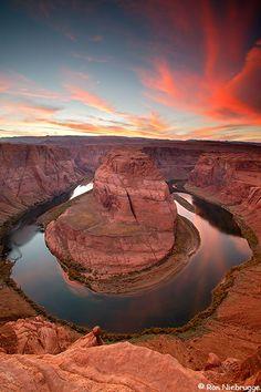 Sunset on the Colorado River at Horseshoe Bend, Page, Arizona