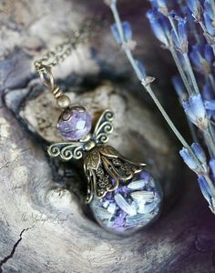 Lavender faerie necklace~ jewelry by Vintage Angel.
