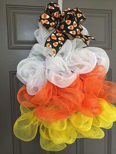 Candy Corn Deco Mesh Wreath Halloween Wreath by BeautifulMesh