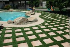 garage walkway with paver and grass   Artificial Grass with pavers/stones