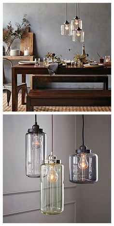 love the pendant lights above this dining room table.