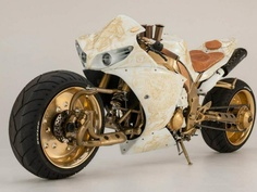 Steampunk R1 contraption besides that gaudy extended swing arm, this bike is not hard to look at
