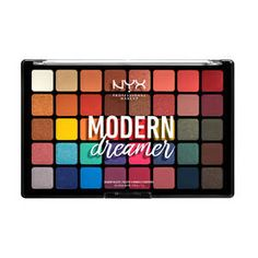 NYX Professional Makeup Modern Dreamer Shadow Palette - a pigment-packed palette featuring 40 stunning hues in foiled, matte and satin finishes. Makeup Eyeshadow Palette, Blending Eyeshadow, Nyx Makeup, Highlighter Makeup, Nyx Palette, Makeup Brushes, Chanel Makeup, Clown Makeup, Blue Eyeshadow