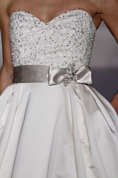 Bling Bodice Wedding Dress with Platinum Ribbon Belt from the Alvina Valenta Spring 2011 collection