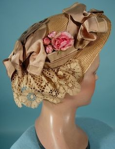 c. 1890's Natural Straw Hat with Bird Wings