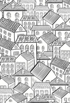 houses colouring page Abstract Doodle Coloring pages colouring adult detailed advanced printable Kleuren voor volwassenen