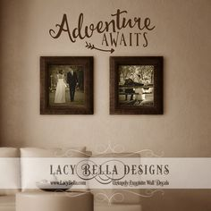 "www.lacybella.com  Unique vinyl wall decal quote ""Adventure awaits"" with arrow graphic lettering"
