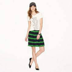 A-line, but in drapey silk in a bold color combo and fun print. Silk skirt in beanstalk stripe - Mini - Women's skirts - J.Crew