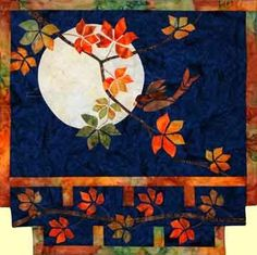 Details about Storyquilts Autumn Moon Asian Applique Quilt Pattern Quilting Projects, Quilting Designs, Quilting Ideas, Applique Wall Hanging, Asian Quilts, Applique Quilt Patterns, Japanese Quilt Patterns, Fall Quilts, Landscape Quilts