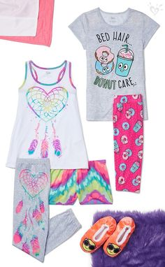 Totally fun sleepwear style that adds more fiesta to your siesta. Cute Pjs, Cute Pajamas, Girls Pajamas, Tween Fashion, Fashion Outfits, Tween Mode, Kids Outfits, Summer Outfits, Justice Clothing