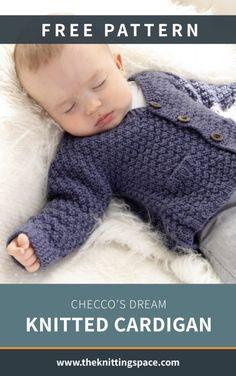 Toddler Knitting Patterns Free, Fall Knitting Patterns, Baby Cardigan Knitting Pattern Free, Knitting For Kids, Free Knitting, Knitting Projects, Baby Knitting, Spool Knitting, Baby Sweater Patterns